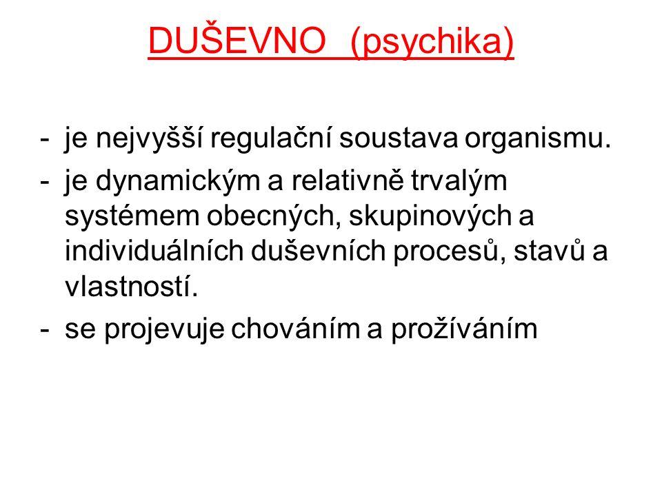 DUŠEVNO (psychika) je nejvyšší regulační soustava organismu.