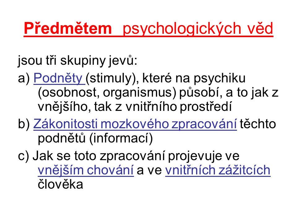 Předmětem psychologických věd