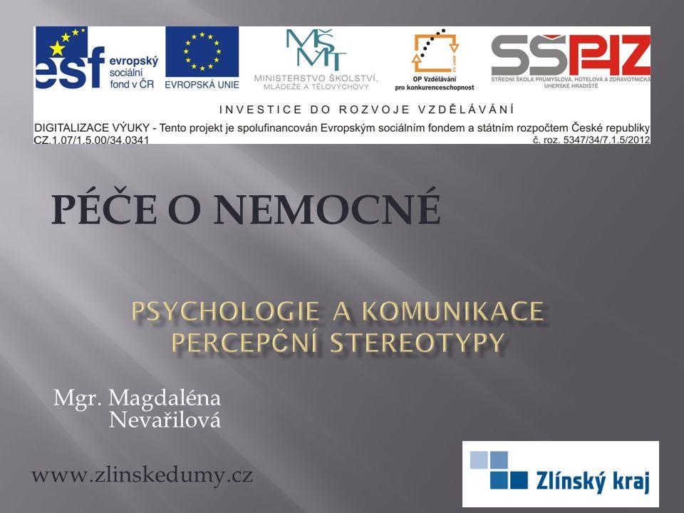 PSYCHOLOGIE A KOMUNIKACE PERCEPČNÍ STEREOTYPY