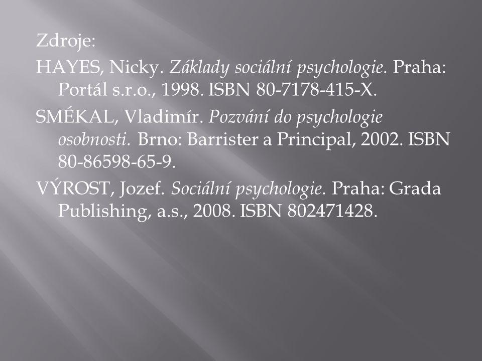 Zdroje: HAYES, Nicky. Základy sociální psychologie. Praha: Portál s. r