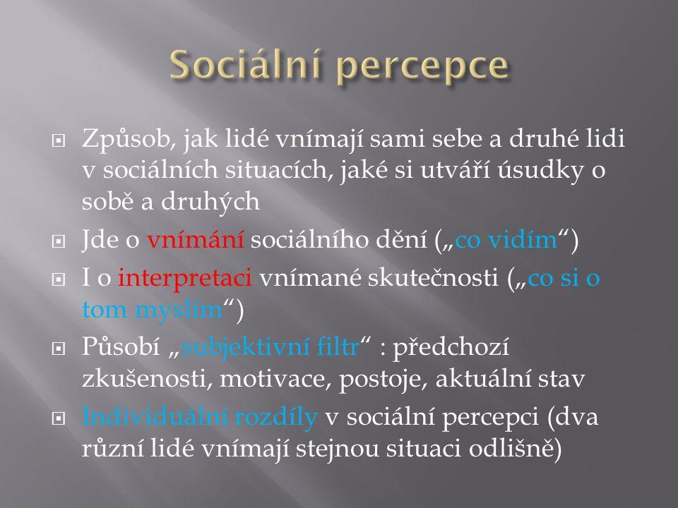 Sociální percepce Způsob, jak lidé vnímají sami sebe a druhé lidi v sociálních situacích, jaké si utváří úsudky o sobě a druhých.
