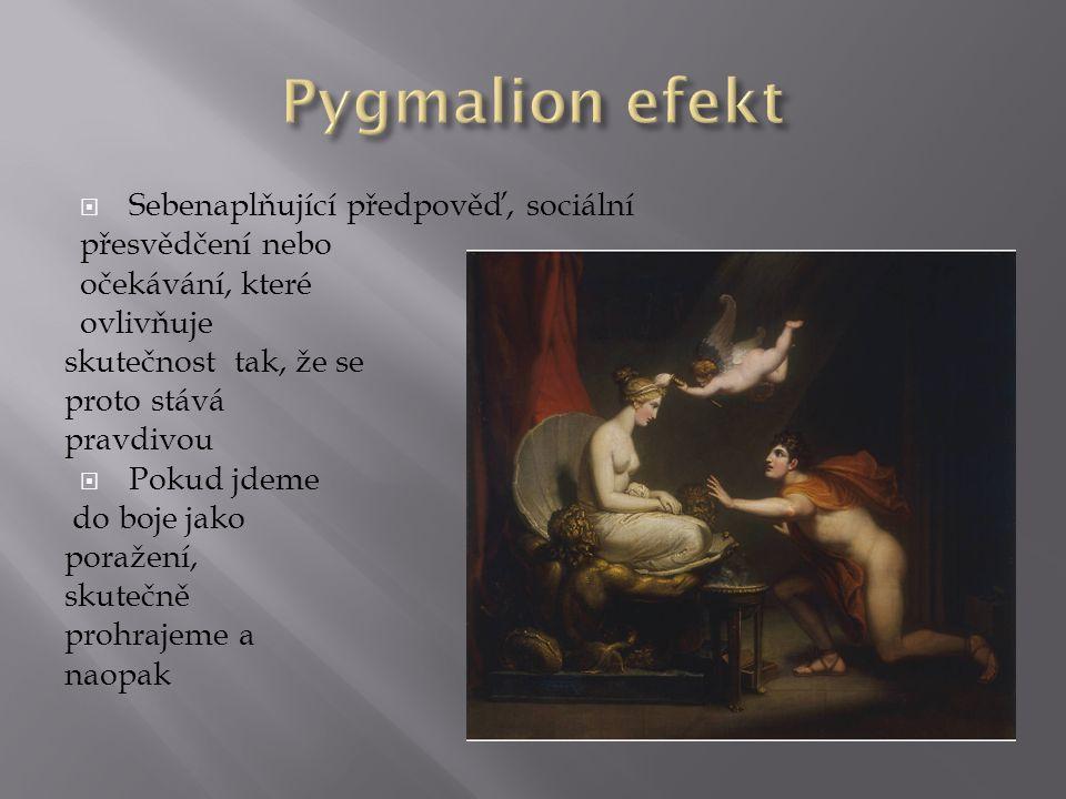 Pygmalion efekt Sebenaplňující předpověď, sociální přesvědčení nebo