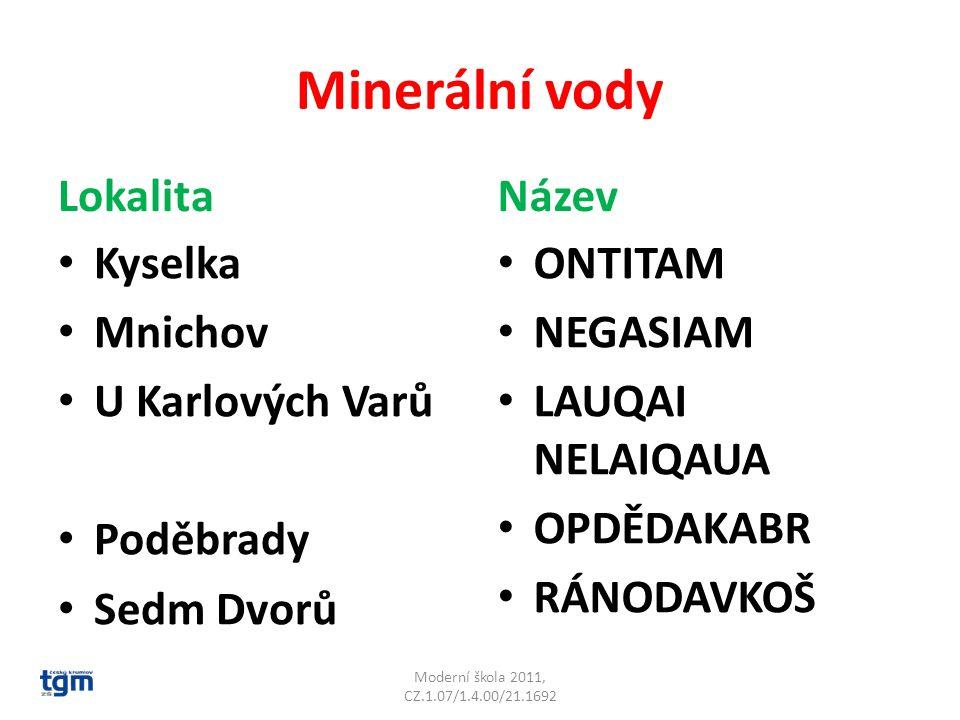Minerální vody Lokalita Název Kyselka Mnichov U Karlových Varů