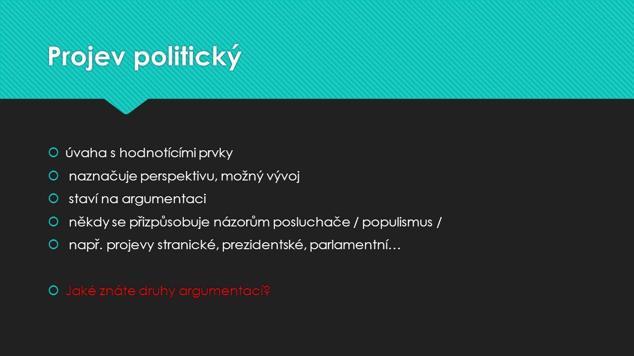 Projev politický úvaha s hodnotícími prvky