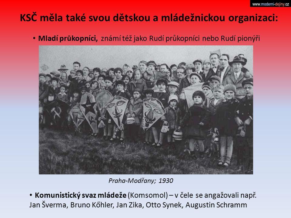 KSČ měla také svou dětskou a mládežnickou organizaci: