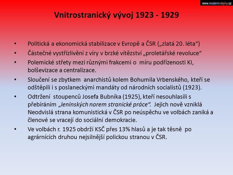Vnitrostranický vývoj 1923 - 1929