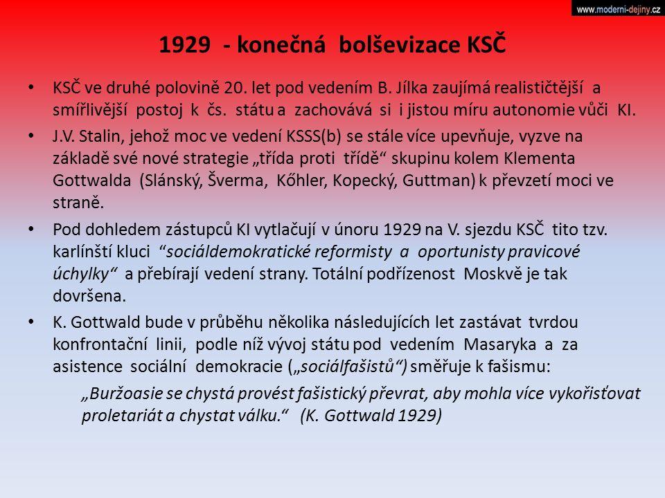 1929 - konečná bolševizace KSČ
