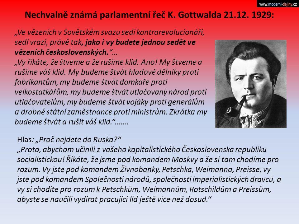 Nechvalně známá parlamentní řeč K. Gottwalda 21.12. 1929: