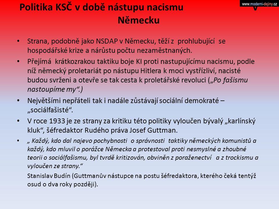 Politika KSČ v době nástupu nacismu v Německu