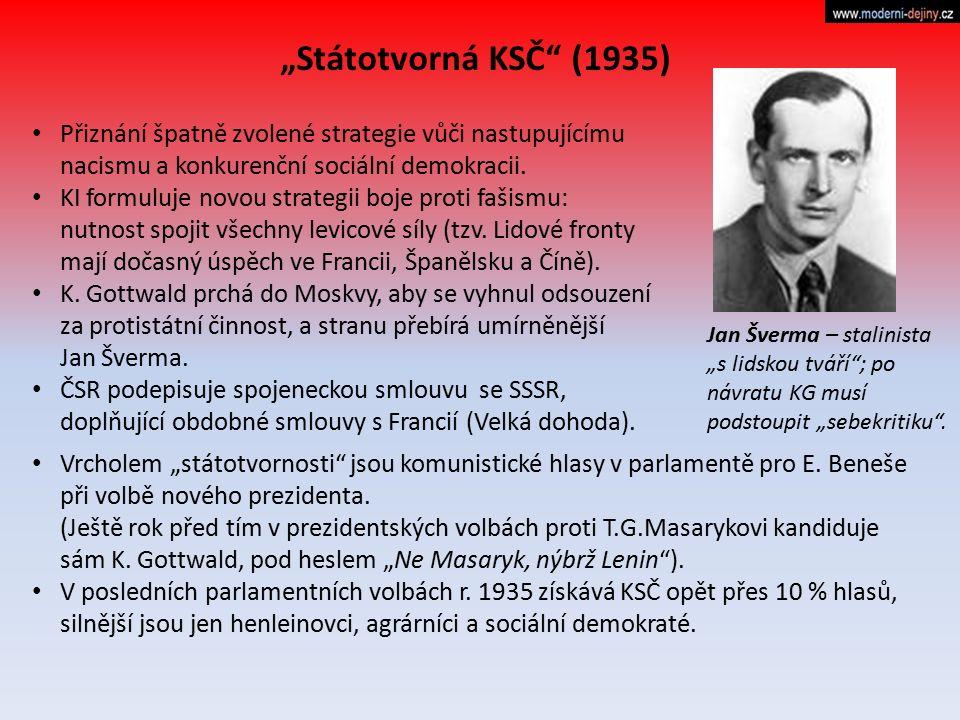 """""""Státotvorná KSČ (1935) Přiznání špatně zvolené strategie vůči nastupujícímu nacismu a konkurenční sociální demokracii."""