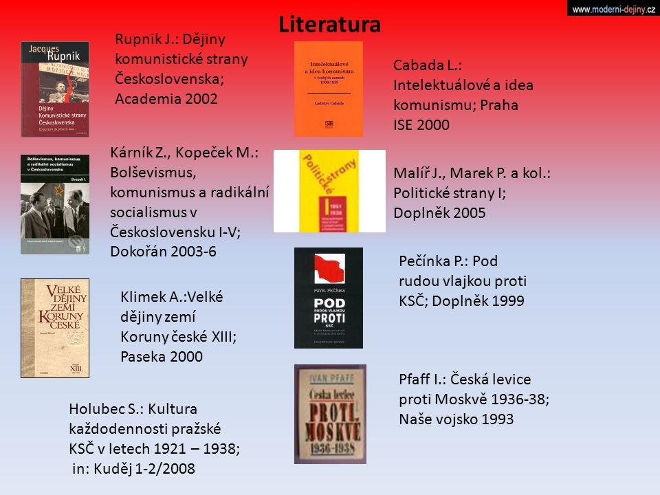 Literatura Rupnik J.: Dějiny komunistické strany Československa; Academia 2002. Cabada L.: Intelektuálové a idea komunismu; Praha ISE 2000.