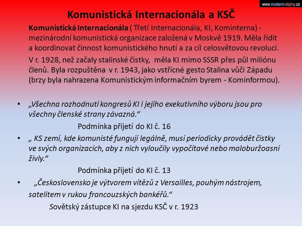 Komunistická Internacionála a KSČ