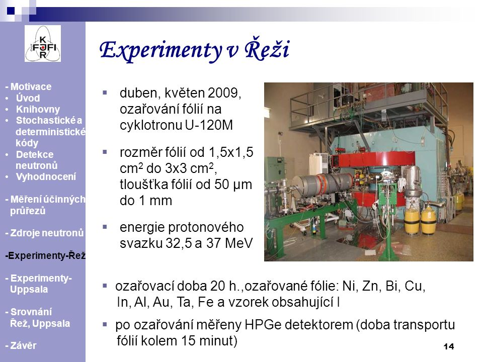 Experimenty v Řeži - Motivace. Úvod. Knihovny. Stochastické a. deterministické. kódy. Detekce.