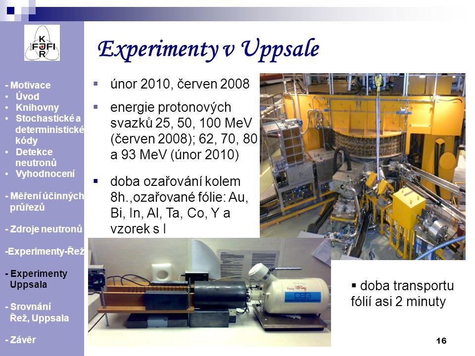 Experimenty v Uppsale únor 2010, červen 2008