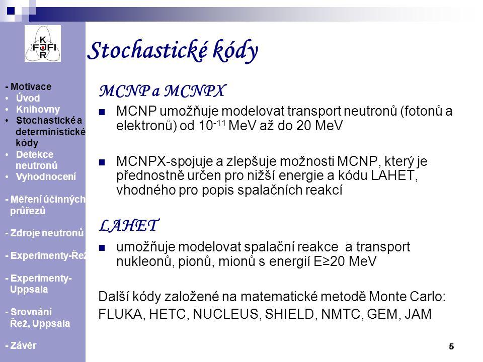 Stochastické kódy MCNP a MCNPX LAHET