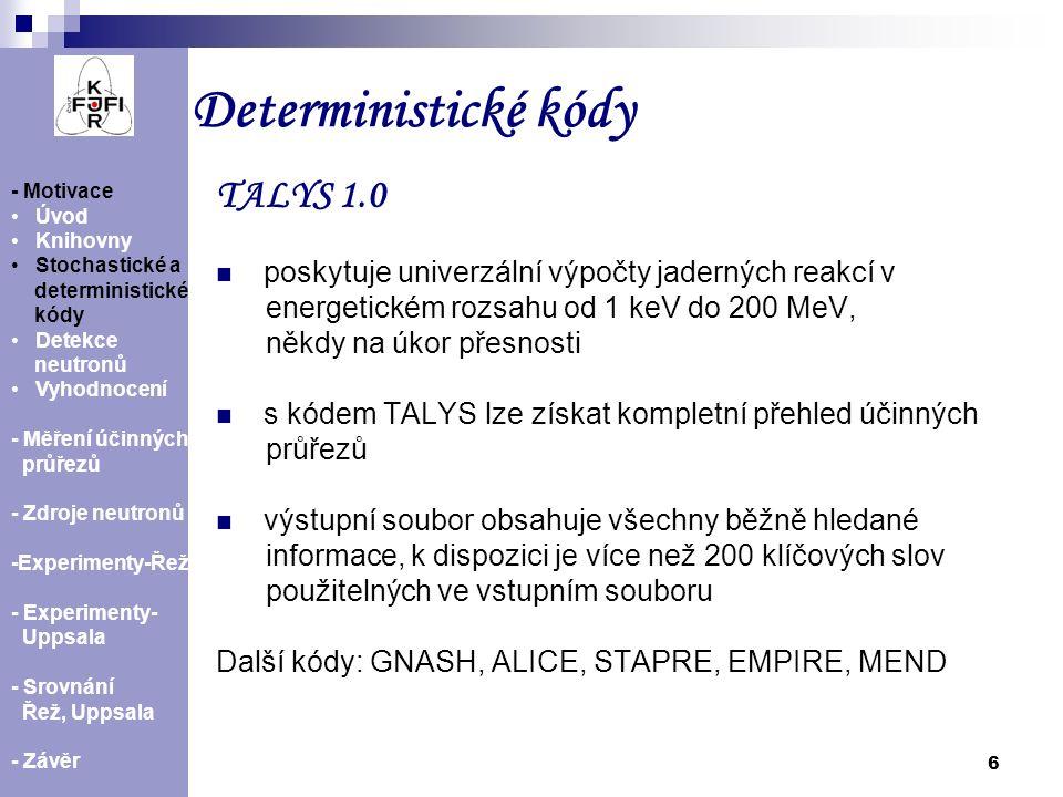 Deterministické kódy TALYS 1.0
