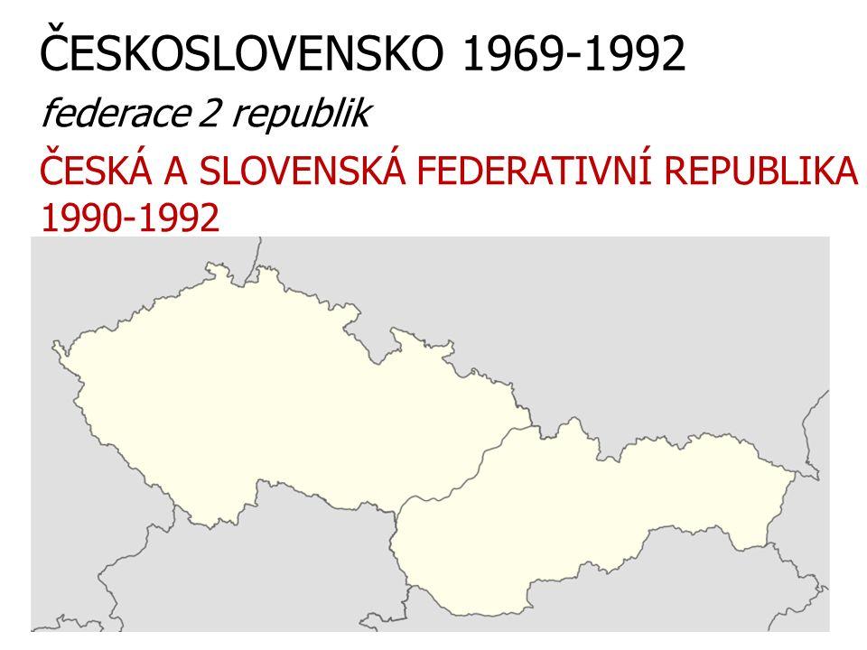 ČESKOSLOVENSKO 1969-1992 federace 2 republik