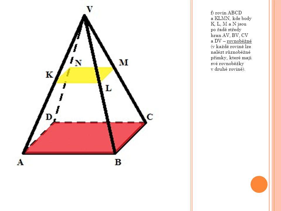 f) rovin ABCD a KLMN, kde body K, L, M a N jsou po řadě středy hran AV, BV, CV a DV – rovnoběžné (v každé rovině lze nalézt různoběžné přímky, které mají své rovnoběžky v druhé rovině).