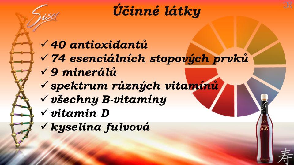 Účinné látky 40 antioxidantů 74 esenciálních stopových prvků