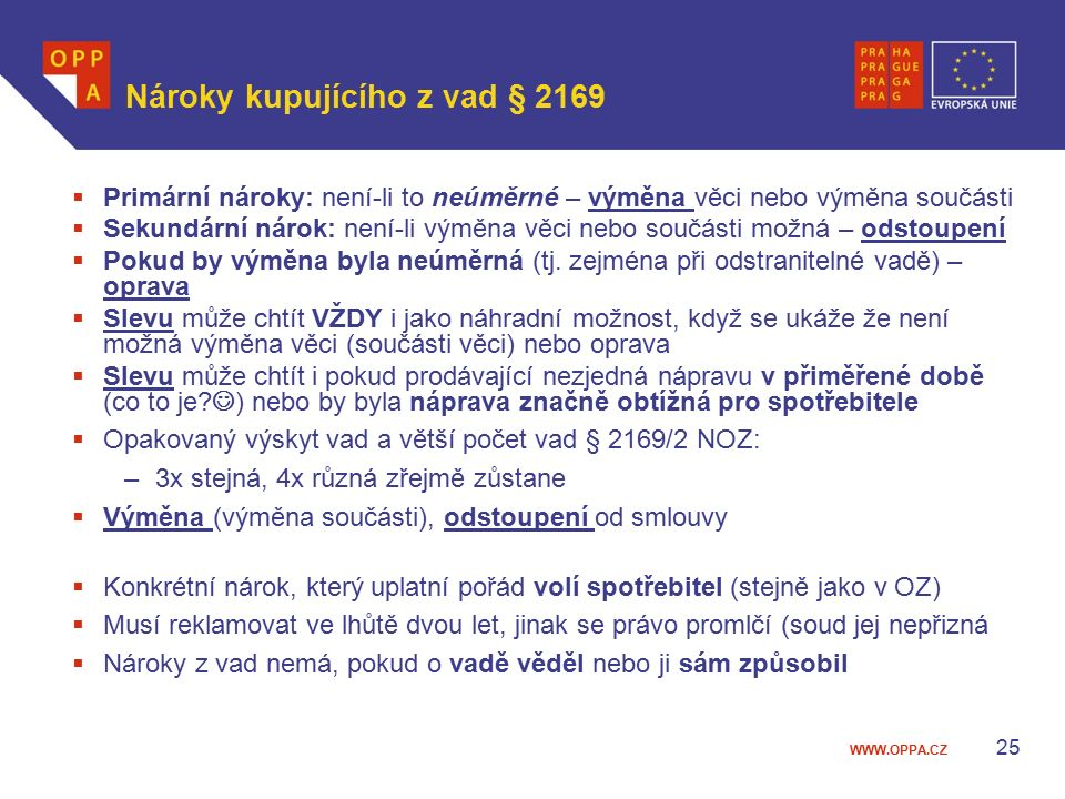 Nároky kupujícího z vad § 2169