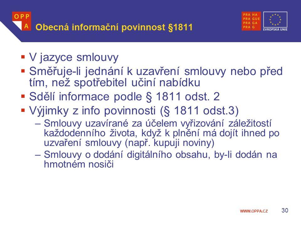 Obecná informační povinnost §1811