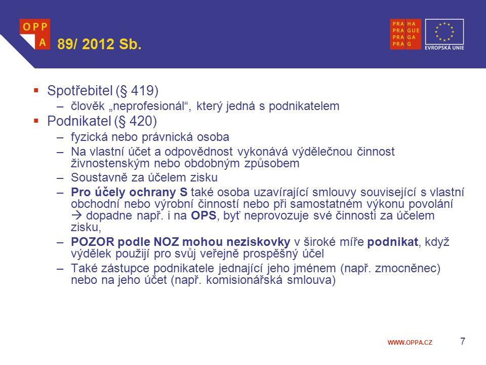 89/ 2012 Sb. Spotřebitel (§ 419) Podnikatel (§ 420)