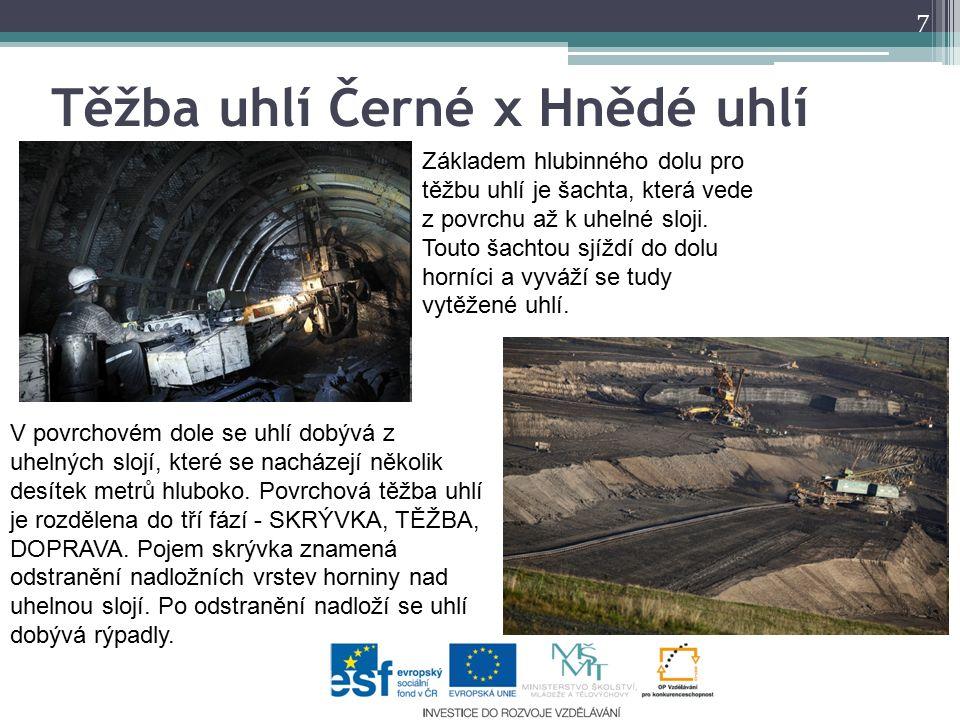 Těžba uhlí Černé x Hnědé uhlí