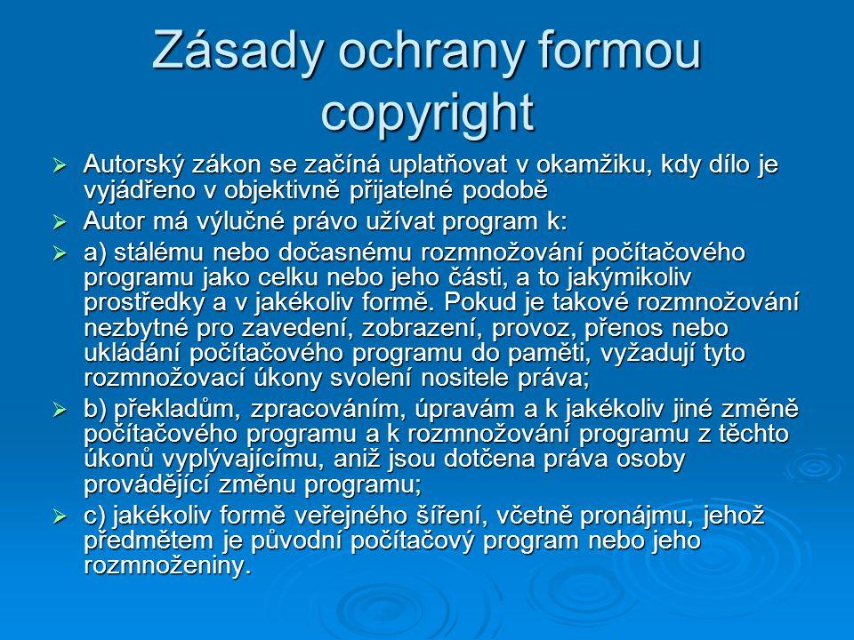 Zásady ochrany formou copyright