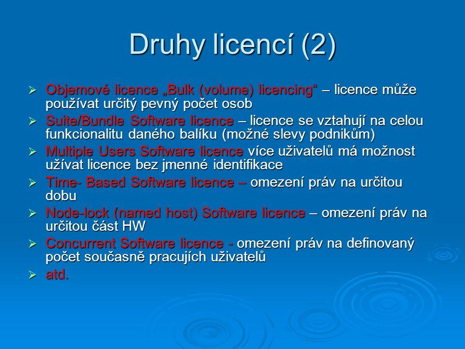 """Druhy licencí (2) Objemové licence """"Bulk (volume) licencing – licence může používat určitý pevný počet osob."""