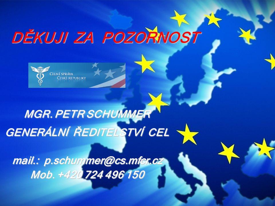 GENERÁLNÍ ŘEDITELSTVÍ CEL mail.: p.schummer@cs.mfcr.cz