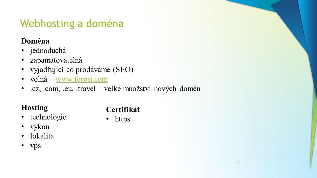 Webhosting a doména Doména jednoduchá zapamatovatelná
