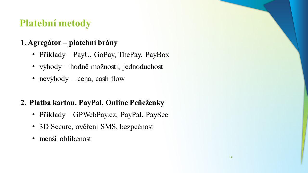 Platební metody 1. Agregátor – platební brány