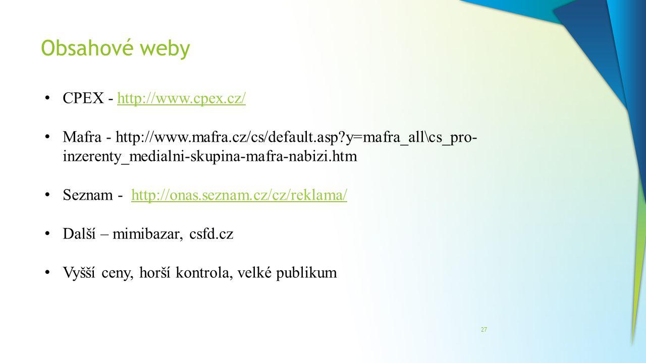 Obsahové weby CPEX - http://www.cpex.cz/