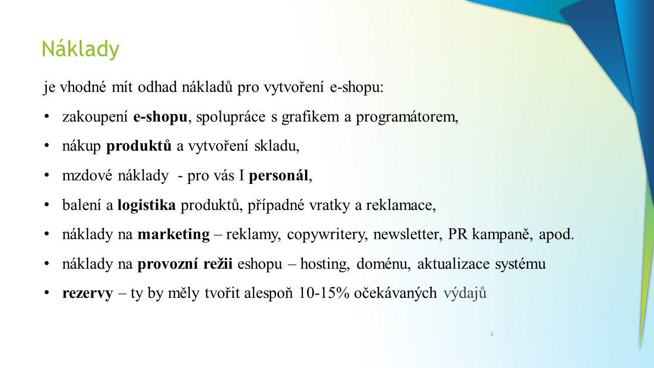 Náklady je vhodné mít odhad nákladů pro vytvoření e-shopu: