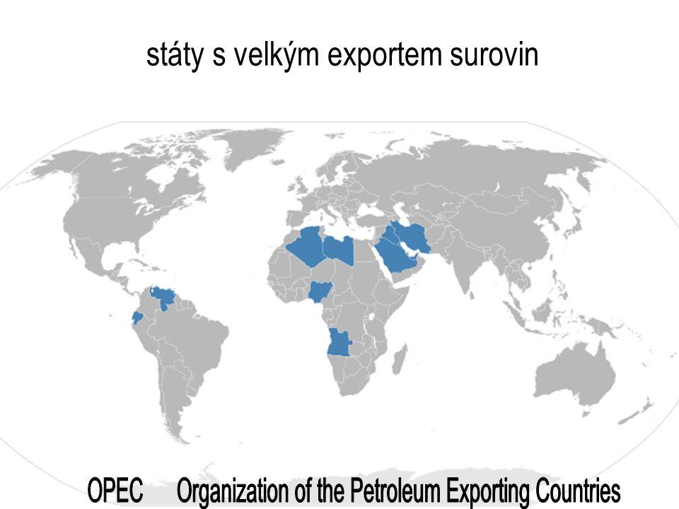 státy s velkým exportem surovin