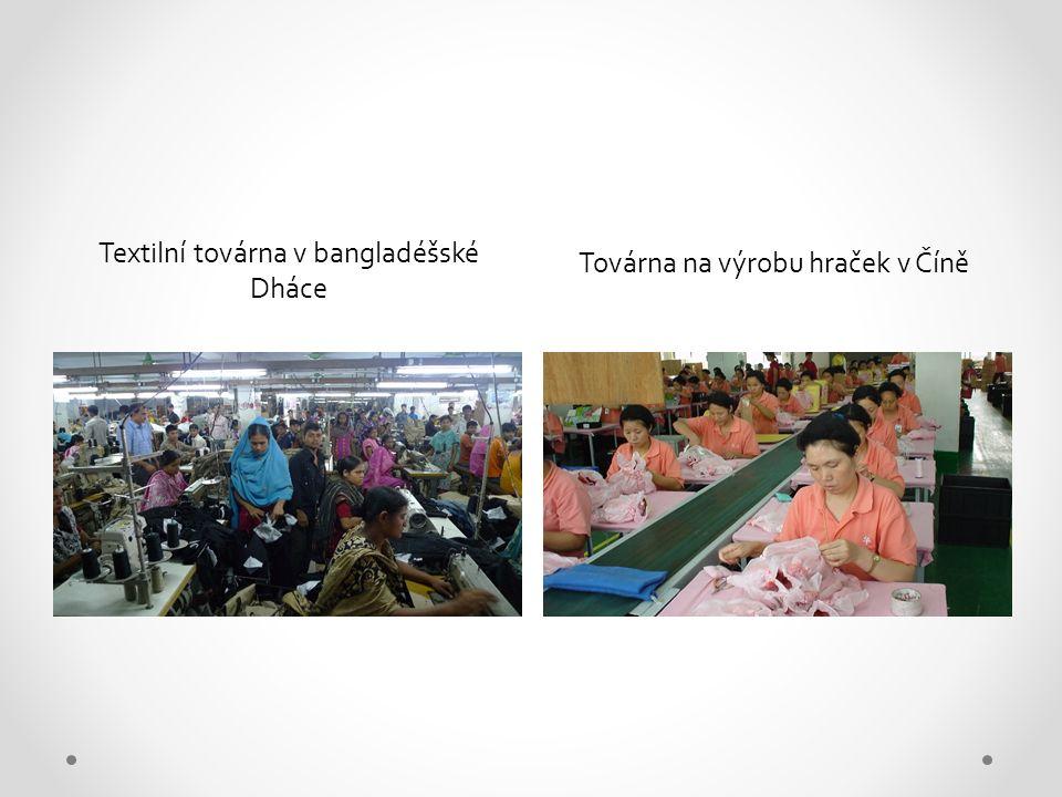 Továrna na výrobu hraček v Číně Textilní továrna v bangladéšské Dháce