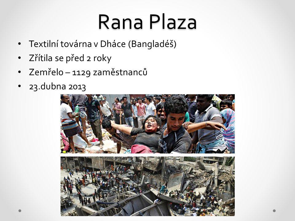 Rana Plaza Textilní továrna v Dháce (Bangladéš) Zřítila se před 2 roky