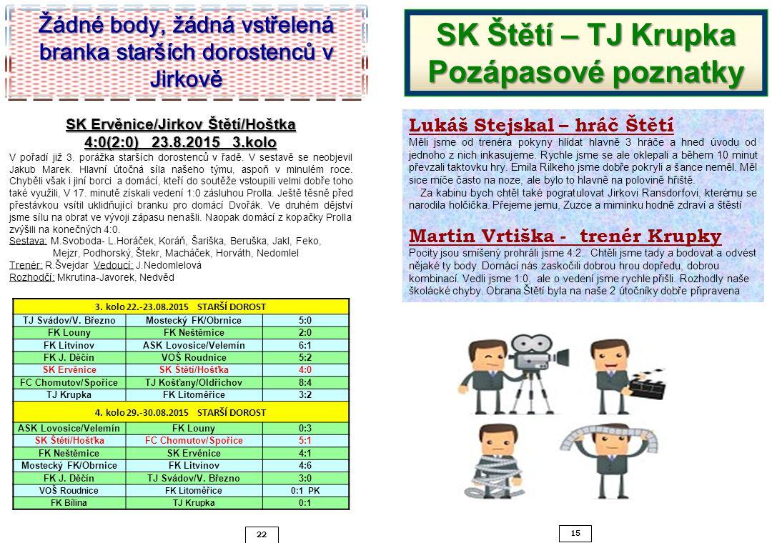 SK Štětí – TJ Krupka Pozápasové poznatky
