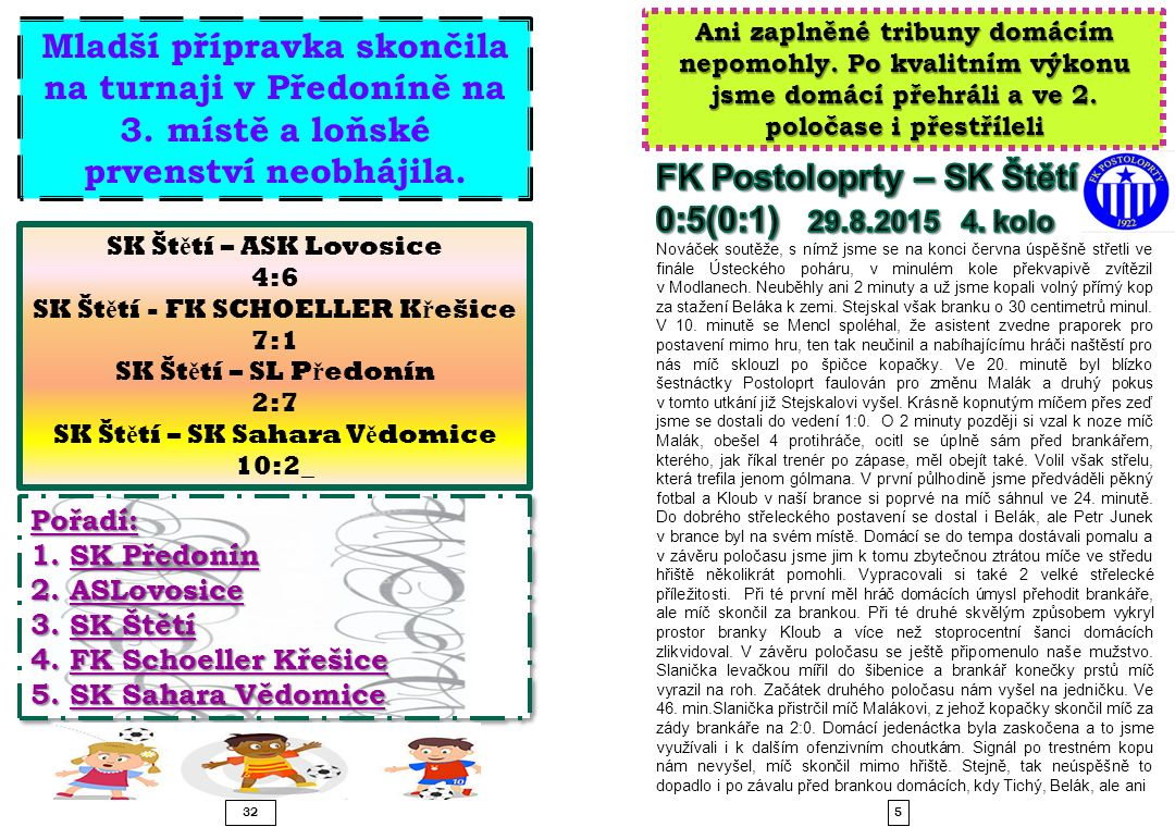 SK Štětí - FK SCHOELLER Křešice SK Štětí – SK Sahara Vědomice