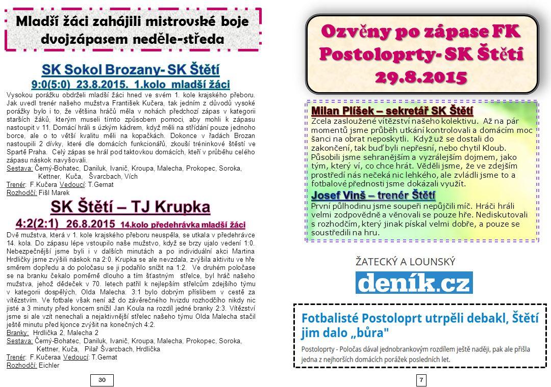 Ozvěny po zápase FK Postoloprty- SK Štětí 29.8.2015