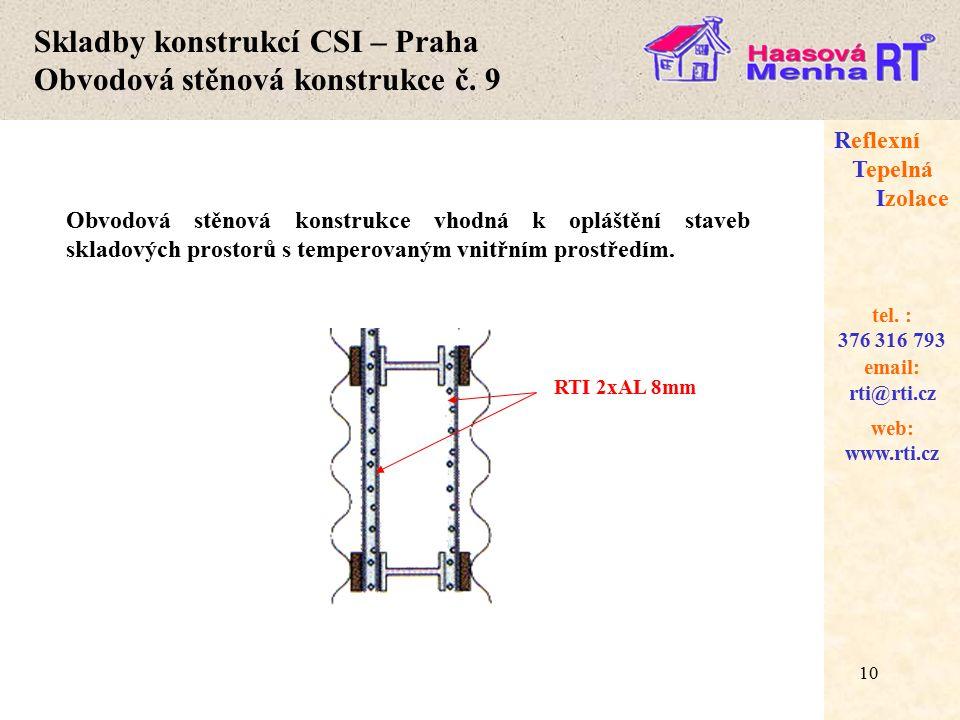 Skladby konstrukcí CSI – Praha Obvodová stěnová konstrukce č. 9