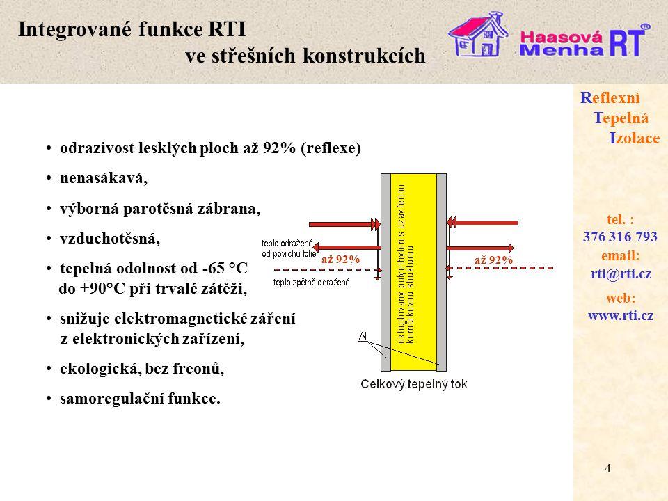 Integrované funkce RTI ve střešních konstrukcích