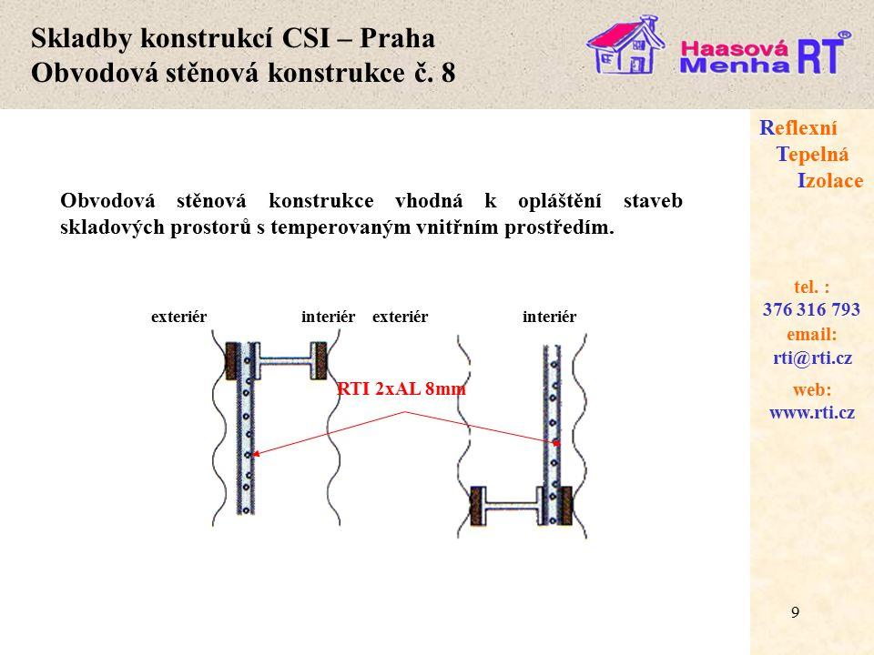 Skladby konstrukcí CSI – Praha Obvodová stěnová konstrukce č. 8