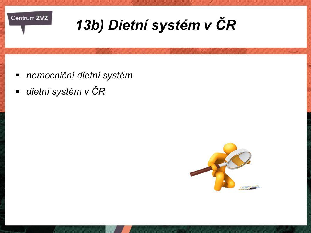 13b) Dietní systém v ČR nemocniční dietní systém dietní systém v ČR