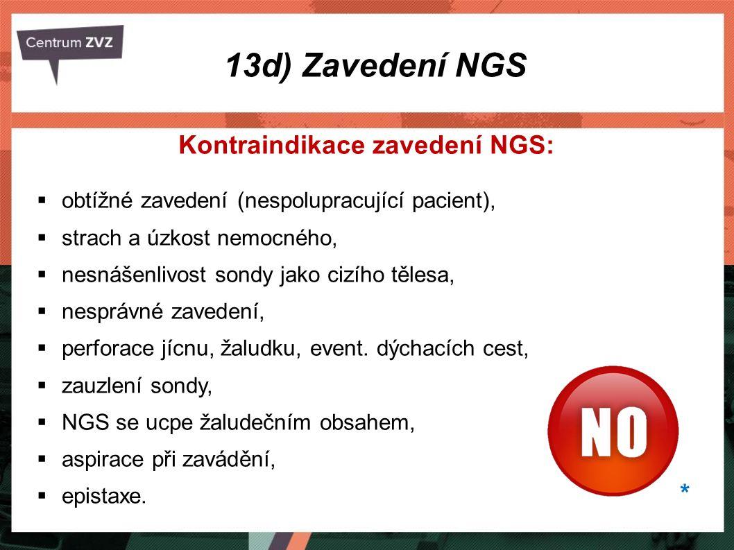 Kontraindikace zavedení NGS: