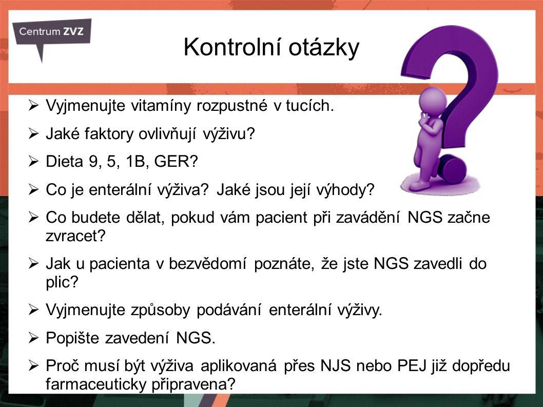 Kontrolní otázky Vyjmenujte vitamíny rozpustné v tucích.