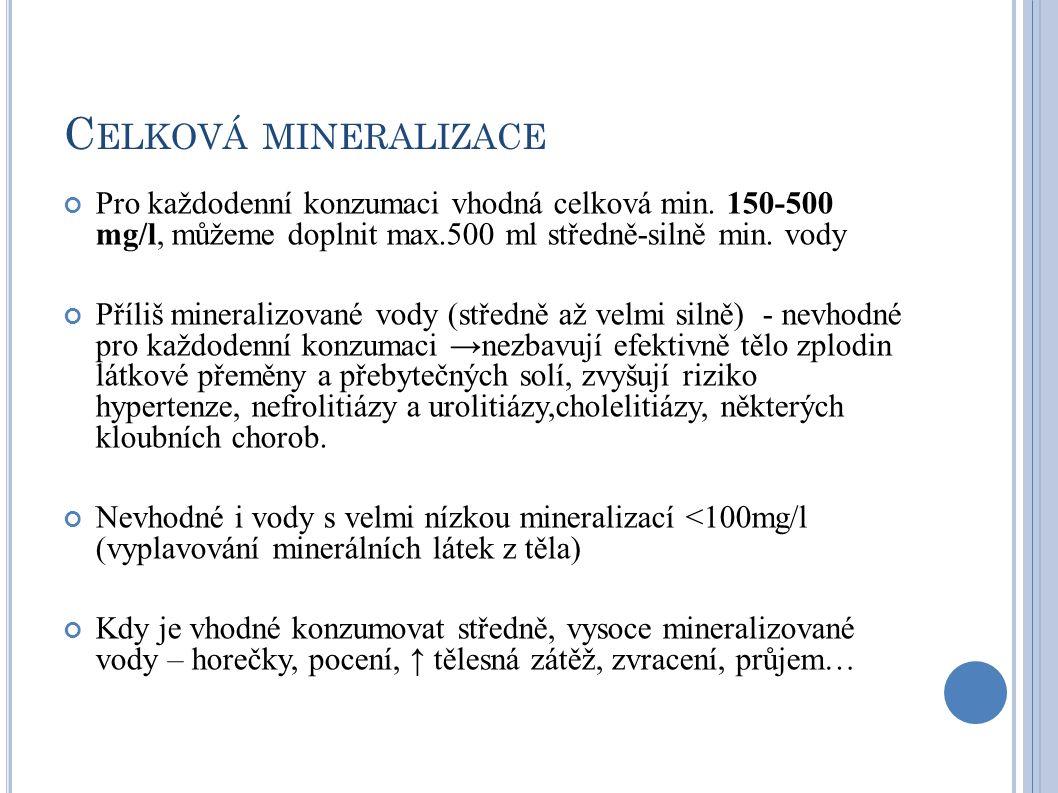 Celková mineralizace Pro každodenní konzumaci vhodná celková min. 150-500 mg/l, můžeme doplnit max.500 ml středně-silně min. vody.
