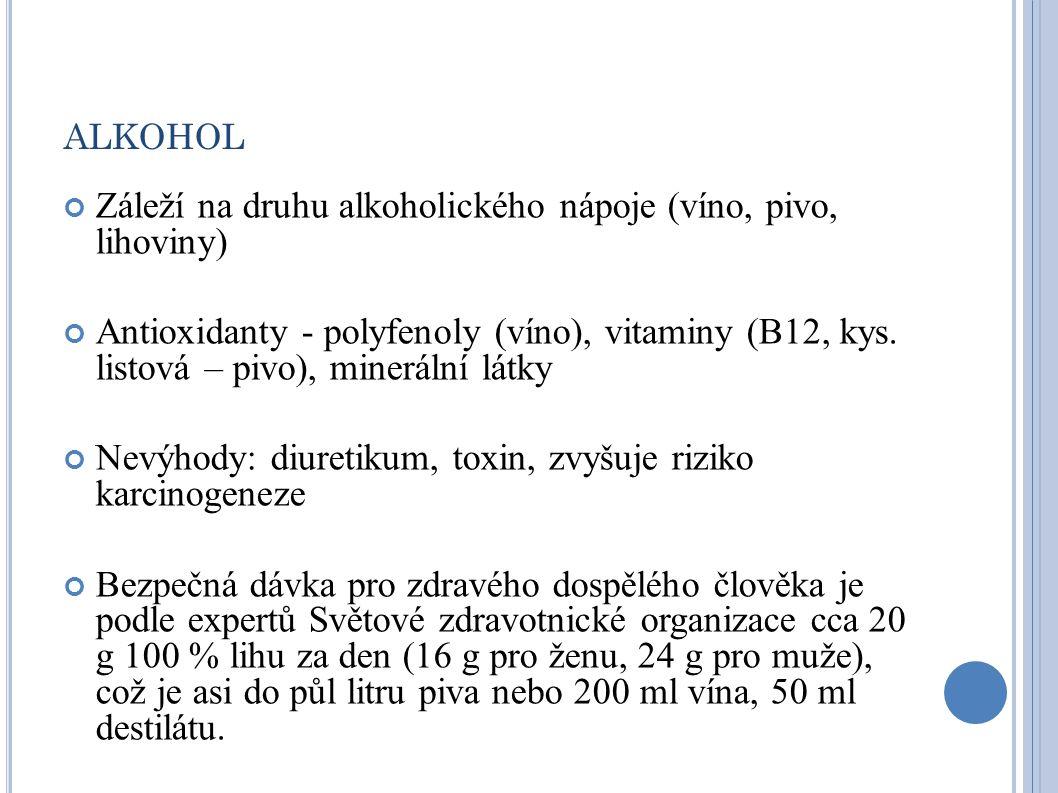 alkohol Záleží na druhu alkoholického nápoje (víno, pivo, lihoviny)