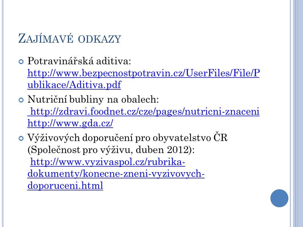 Zajímavé odkazy Potravinářská aditiva: http://www.bezpecnostpotravin.cz/UserFiles/File/P ublikace/Aditiva.pdf.