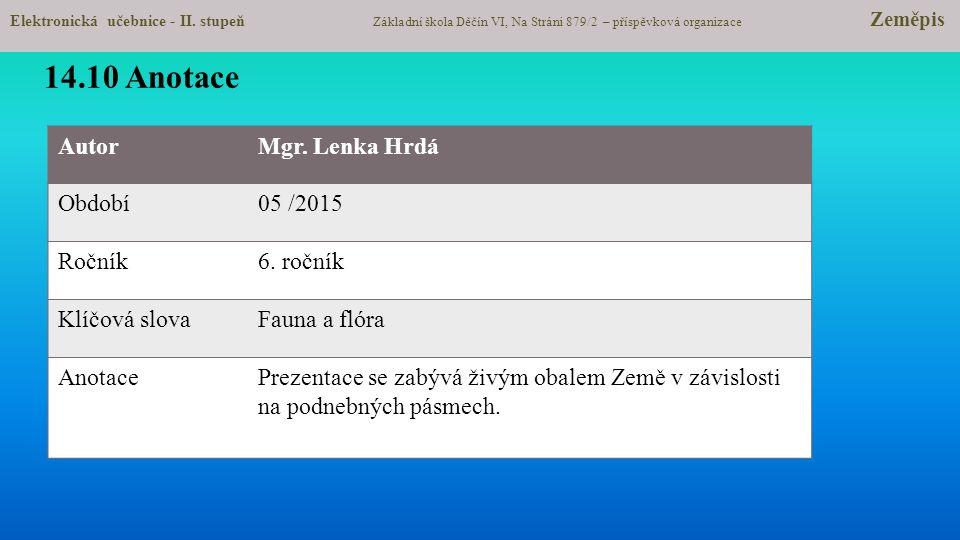 14.10 Anotace Autor Mgr. Lenka Hrdá Období 05 /2015 Ročník 6. ročník